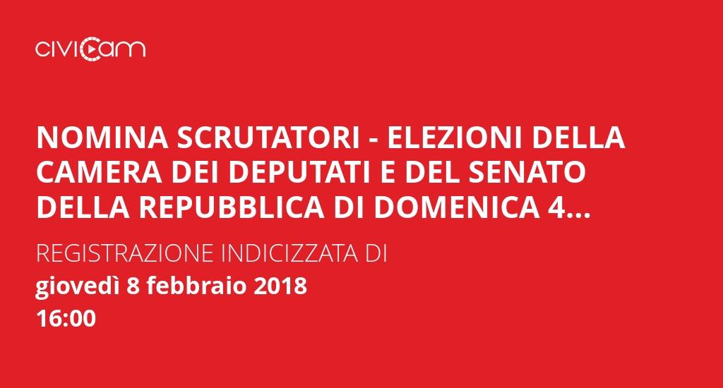 Comune di assisi nomina scrutatori elezioni della for Camera dei deputati redditi on line